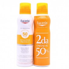 EUCERIN SUN PROTECTION 50 SPRAY TRANSPARENTE DRY 200 ML 2 UNIDADES-50%